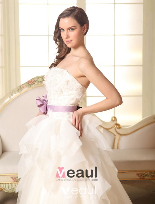 2015 Ball Gown Strapless Beading Petal Flower Sash Organza Wedding Dress