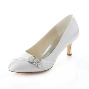Eleganckie Satynowe Buty Ślubne Białe Szpilki Czółenka Z Kryształu