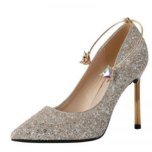 Encantador Oro Glitter Zapatos de novia 2019 Lentejuelas Rhinestone 9 cm Stilettos / Tacones De Aguja Punta Estrecha Boda Tacones