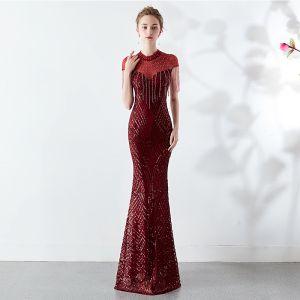 Chic / Beautiful Burgundy Evening Dresses  2019 Trumpet / Mermaid High Neck Beading Tassel Crystal Sequins Short Sleeve Floor-Length / Long Formal Dresses