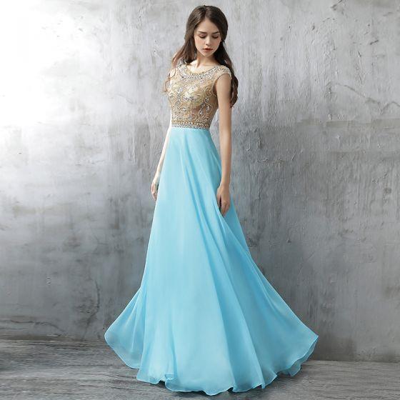 Chic / Beautiful Evening Dresses  2017 Pool Blue A-Line / Princess Floor-Length / Long Scoop Neck Sleeveless Backless Glitter Rhinestone Formal Dresses