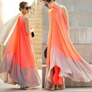 Flotte Orange Sommer Casual Maxikjoler 2018 Plisseret Scoop Neck Ærmeløs Lange Tøj til kvinder