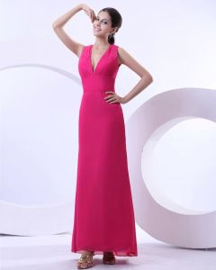 Chiffon V Neck Pleated Floor Length Evening Party Dress