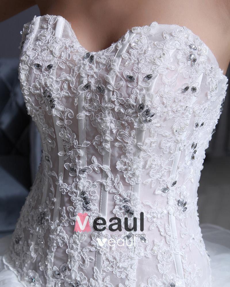 Tulle Organza Strapless Flower Bead A-Line Wedding Dress