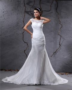 Elegant Yarn Charmeuse Applique Pleated Bateau Floor Length Mermaid Wedding Dress