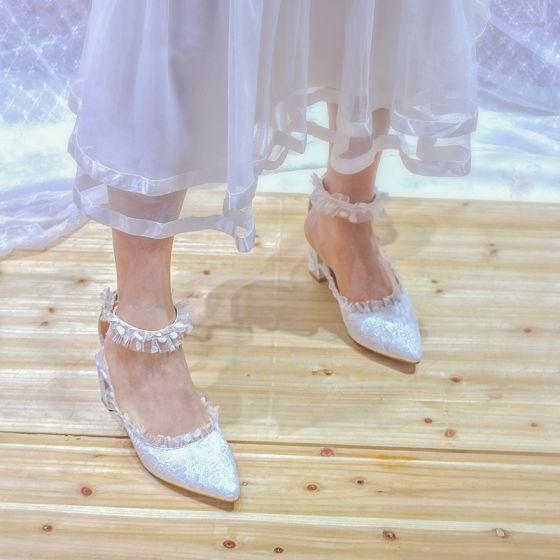 Schöne Ivory / Creme Brautschuhe 2020 Tülle Spitze 5 cm Thick Heels Spitzschuh Hochzeit Hochhackige