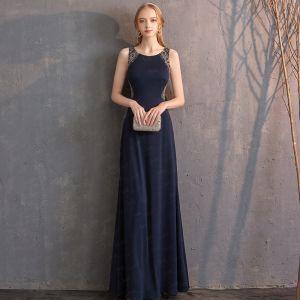 Best Navy Blue Evening Dresses  2019 Trumpet / Mermaid Scoop Neck Sleeveless Handmade  Beading Floor-Length / Long Backless Formal Dresses