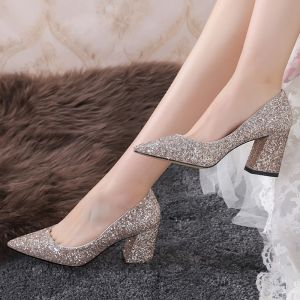 Amazing / Unique Gold Wedding Shoes 2019 Pointed Toe Polyester Glitter Sequins Wedding Heels
