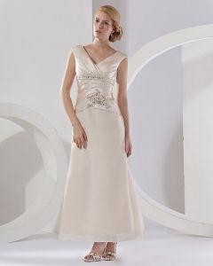 Satin Ruffle Shoulder Straps Floor Length Mothers Of The Bridal Dresses