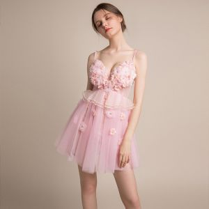 Sexy Blushing Pink See-through Party Dresses 2018 A-Line / Princess Sleeveless Spaghetti Straps Appliques Flower Rhinestone Beading Tassel Short Ruffle Backless Formal Dresses