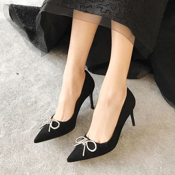 Chic / Beautiful Black Dating Pumps 2020 Bow Rhinestone 8 cm Stiletto Heels Pointed Toe Pumps