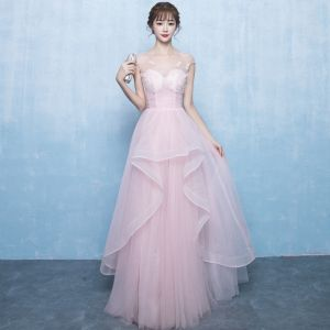 Chic / Beautiful Blushing Pink Prom Dresses 2018 A-Line / Princess Beading Cascading Ruffles Scoop Neck Sleeveless Floor-Length / Long Prom Formal Dresses