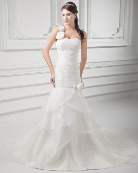 Organza Ruffle Flower One Shoulder Court Train Tiered Mermaid Wedding Dress