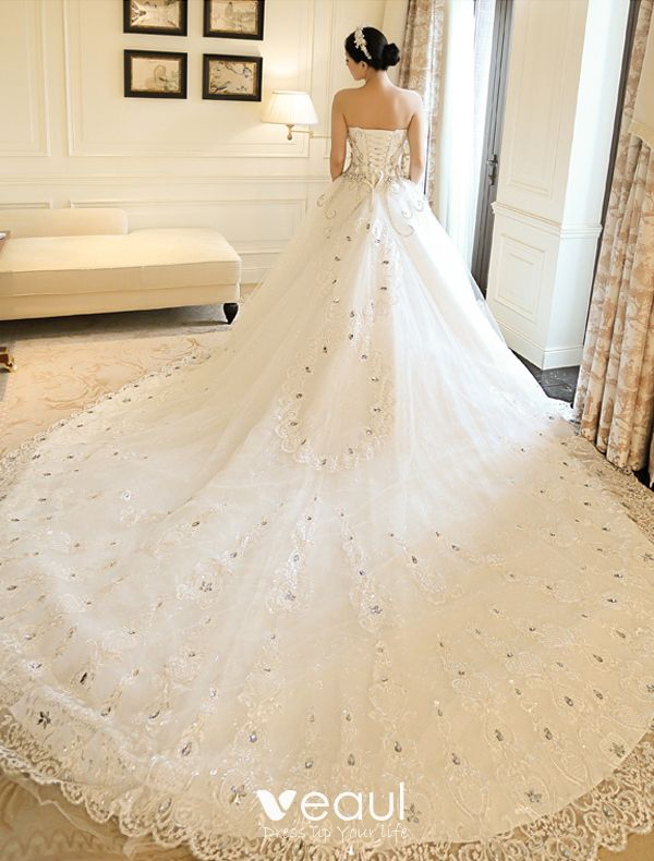 A Line Princess Sweetheart Applique Lace Rhinestone Wedding Dress With Long Trailing