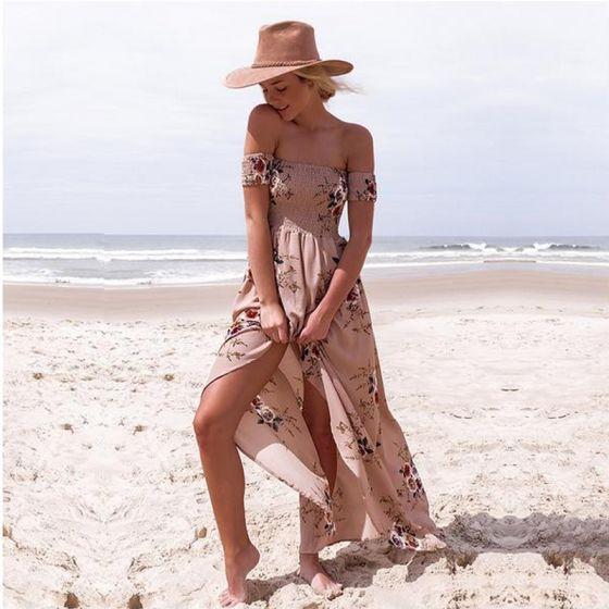 Modern / Fashion Blushing Pink Tea-length Maxi Dresses 2018 A-Line / Princess Chiffon Embroidered Printing Strapless Beach Women's Clothing
