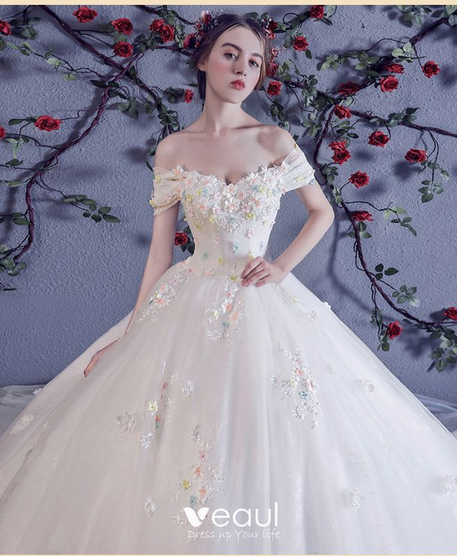 Chic / Beautiful White Wedding Dresses 2018 Ball Gown
