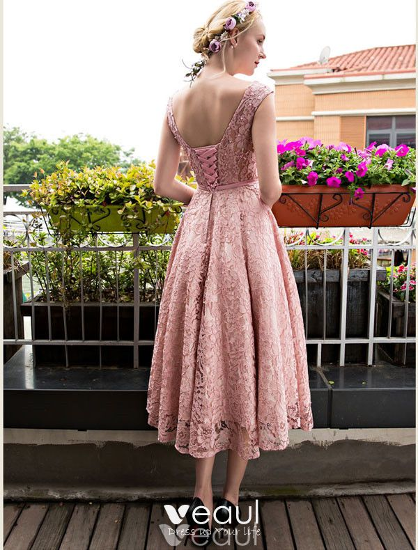 Chic Pink Cocktail Dress Tea Length Lace Party Dress 2017