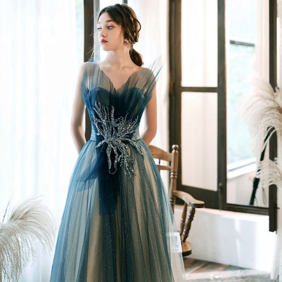 Charming Ink Blue Gradient-Color White Evening Dresses  2020 A-Line / Princess Sweetheart Sleeveless Appliques Beading Glitter Tulle Floor-Length / Long Ruffle Backless Formal Dresses