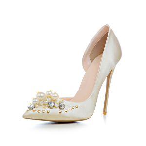 Moda Champán Zapatos de novia 2020 Rhinestone Perla 12 cm Stilettos / Tacones De Aguja Punta Estrecha Boda Tacones