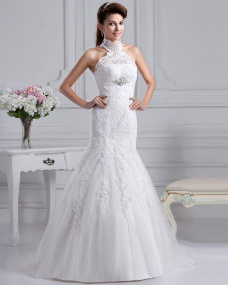 Gaza Monarcha Wysokiej Szyi Aplikacja Linie Trenowac Suknie Ślubne Suknia Ślubna Princessa