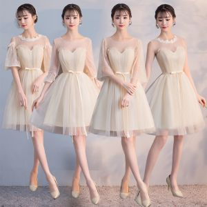 Affordable Champagne See-through Bridesmaid Dresses 2018 A-Line / Princess Appliques Lace Sash Short Ruffle Backless Wedding Party Dresses