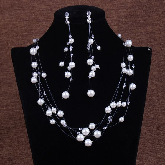 Chic / Beautiful Ivory Pearl Crystal Earrings Necklace Bridal Jewelry 2020 Wedding Accessories