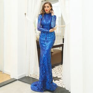 Affordable Royal Blue Evening Dresses  2020 Trumpet / Mermaid High Neck See-through Long Sleeve Sequins Sweep Train Ruffle Formal Dresses