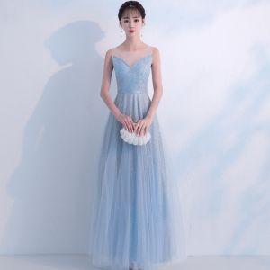 Bling Bling Bleu Ciel Robe De Soirée 2018 Princesse Transparentes Encolure Dégagée Sans Manches Glitter Tulle Longue Volants Dos Nu Robe De Ceremonie