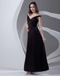 V Cou Plisse Longueur Satin Robe De Demoiselle D'honneur Femme A La Cheville