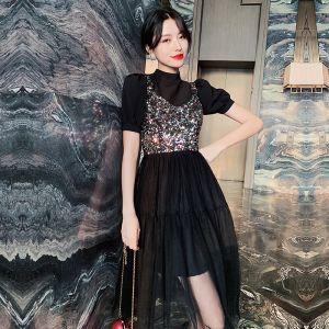 Mode Noire Robe De Fete 2020 Princesse Col Haut Paillettes Manches Courtes Thé Longueur Robe De Ceremonie