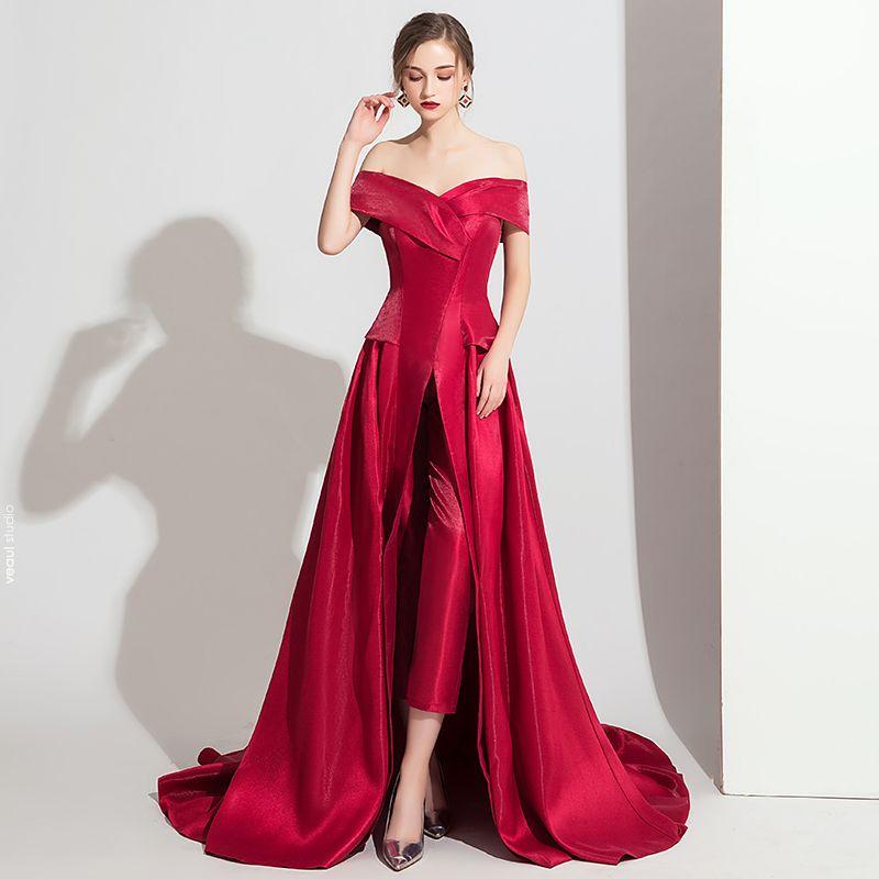 Modest / Simple Burgundy Satin Jumpsuit 2019 Off-The-Shoulder Short Sleeve Sweep Train Backless Evening Dresses