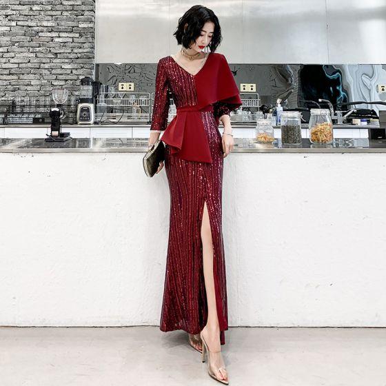 Piękne Burgund Cekiny Sukienki Wieczorowe 2020 Syrena / Rozkloszowane V-Szyja 3/4 Rękawy Szarfa Podział Przodu Długie Sukienki Wizytowe