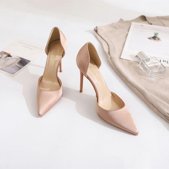 Enkel Nude Streetwear Damesko 2020 Satin 10 cm Stiletter Spidse Tå Hæle