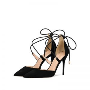 Chic / Beautiful Casual Black Womens Sandals 2019 Suede X-Strap Bow 10 cm Stiletto Heels Pointed Toe High Heels