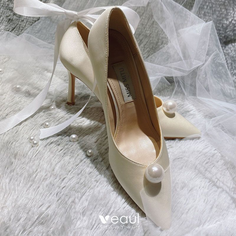 Elegant White Pearl Wedding Shoes 2020