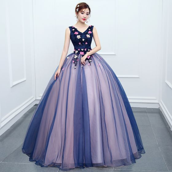 Traditional Navy Blue Prom Dresses 2020 Ball Gown V-Neck Beading Appliques Lace Flower Sleeveless Backless Floor-Length / Long Formal Dresses