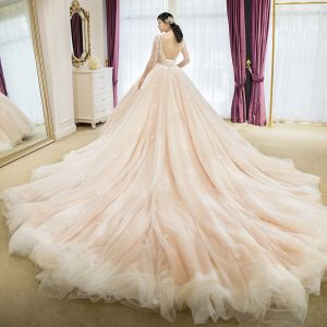 Elegant Champagne Wedding Dresses 2018 Ball Gown Lace Appliques Beading Scoop Neck Backless 3/4 Sleeve Royal Train Wedding