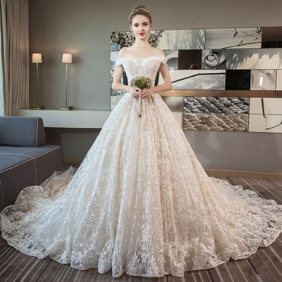 Luxury / Gorgeous Champagne Wedding Dresses 2018 A-Line / Princess ...