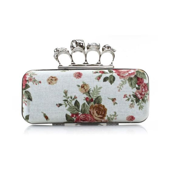 Popular Cotton Printing Banquet Clutch Bag Skull Ring Package