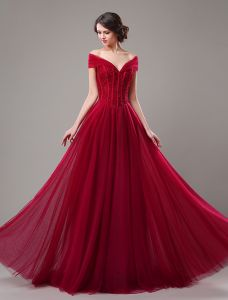 Elegant Prom Dresses 2016 A-line Off The Shoulder Beading Corset Tulle Burgundy Tulle Long Dress
