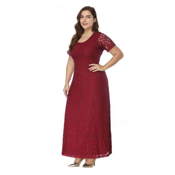 Klassisch Elegante Burgunderrot Abendkleider 2020 A Linie Kurze Ärmel U-Ausschnitt Spitze Rückenfreies Stickerei Handgefertigt Abend Festliche Kleider
