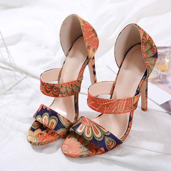 Sencillos Multi-Colors Casual Sandalias De Mujer 2020 12 cm Stilettos / Tacones De Aguja Peep Toe Sandalias