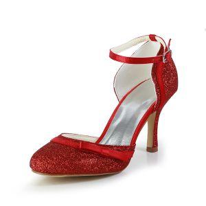 Świecący Czerwone Buty Ślubne Szpilki Brokat Czółenka Wysokie Obcasy