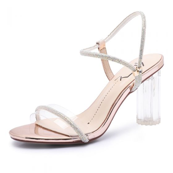 Sexy Champagne Evening Party Crystal Womens Sandals 2020 Rhinestone 8 cm Thick Heels Open / Peep Toe Sandals