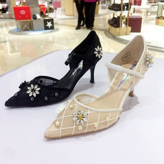 Chic / Beautiful Beige Casual Womens Shoes 2020 Leather Lace Pearl Rhinestone Buckle 5 cm Stiletto Heels Pointed Toe High Heels