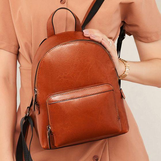 Schlicht Braun Rucksäcke 2021 Leder Damentaschen
