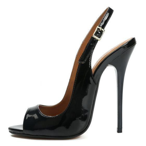 Sexy Zwarte Feest Lakleer Sandalen Dames 2021 Slingbacks 13 cm Naaldhakken / Stiletto Peep Toe Sandalen
