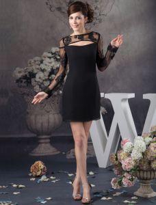 Einzigartige Spitze Lange Ärmel Schwarzes Cocktailkleid Einfachen Partykleid