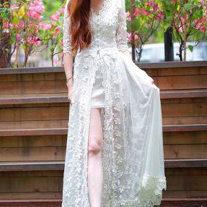 Chic / Belle Été Blanche Robes longues 2018 V-Cou 1/2 Manches Appliques En Dentelle Longueur Cheville Volants Vêtements Femme