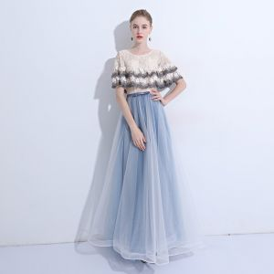 Modern / Fashion Sky Blue Evening Dresses  2019 A-Line / Princess Lace Sequins Appliques Scoop Neck Short Sleeve Floor-Length / Long Formal Dresses
